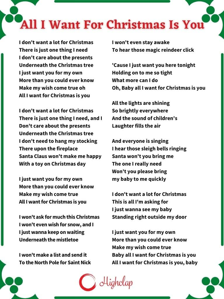 All I Want For Christmas Is You Lyrics - Mariah Carey
