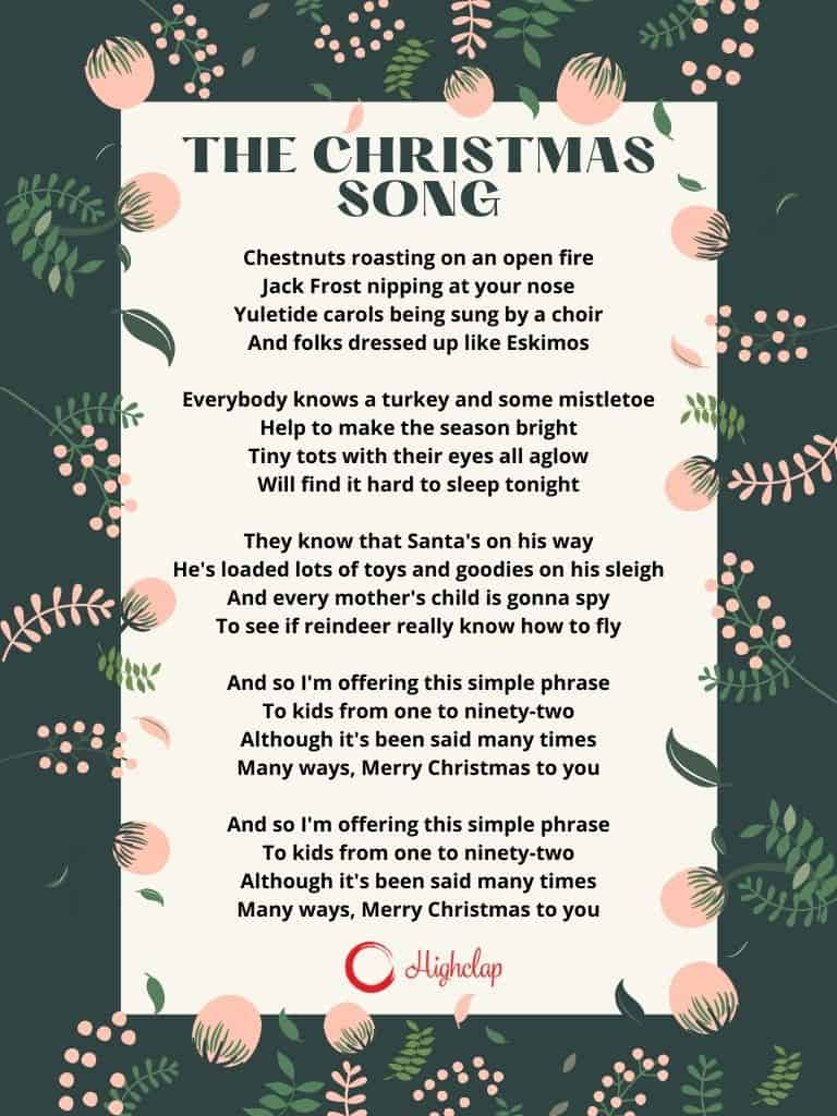The Christmas Song (Merry Christmas To You) Lyrics - Nat King Cole