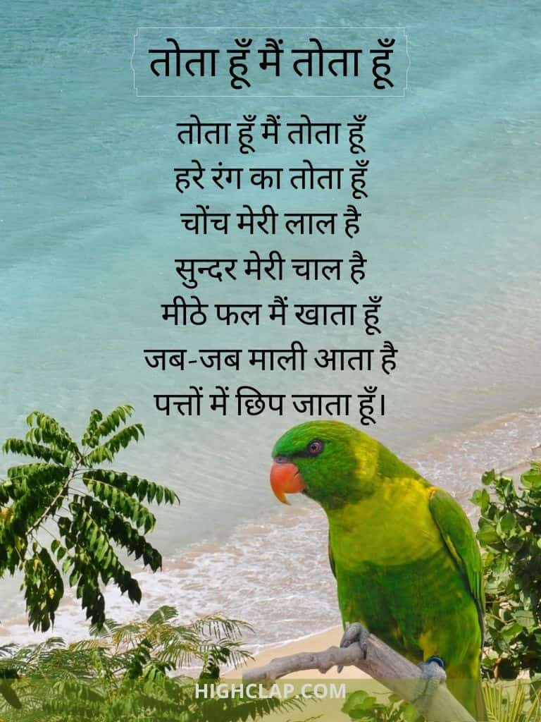 Tota Hu Main Tota Hu(तोता हूँ मैं तोता हूँ) Rhyme