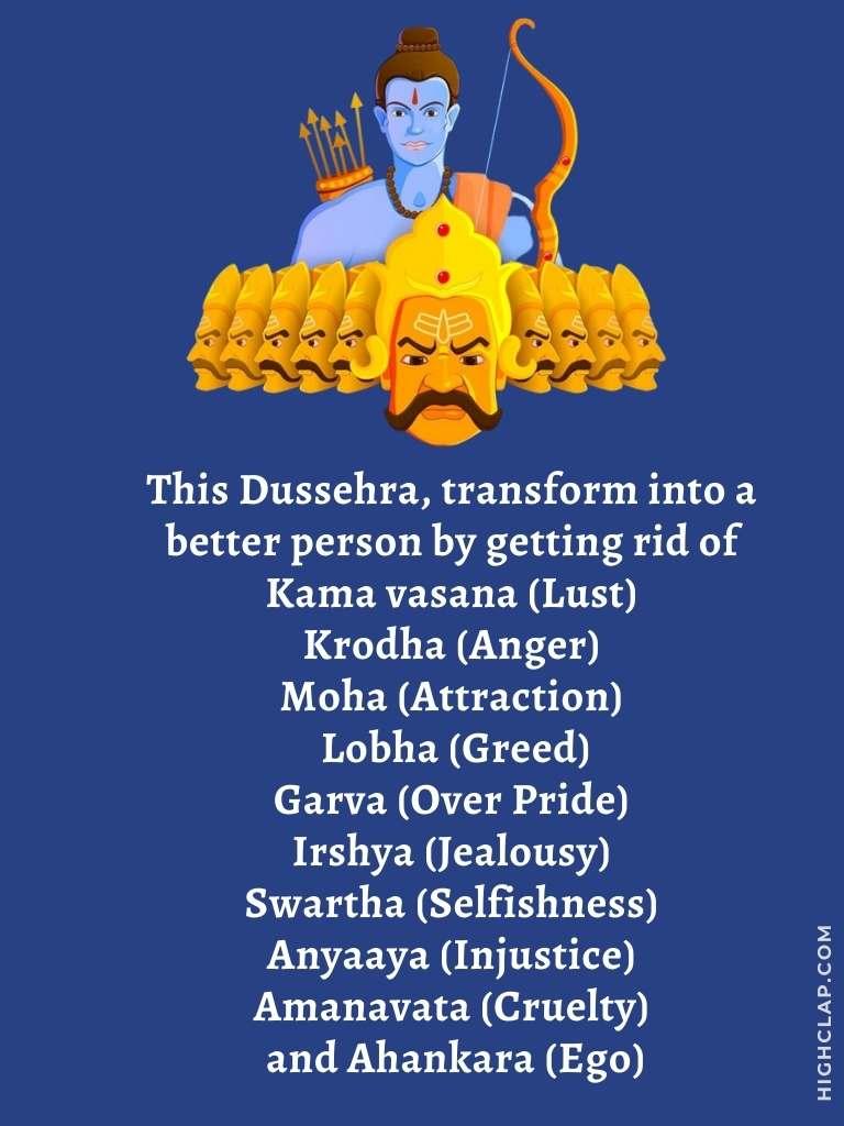 Vijayadashami wishes   Ten Heads of Ravana with meaning