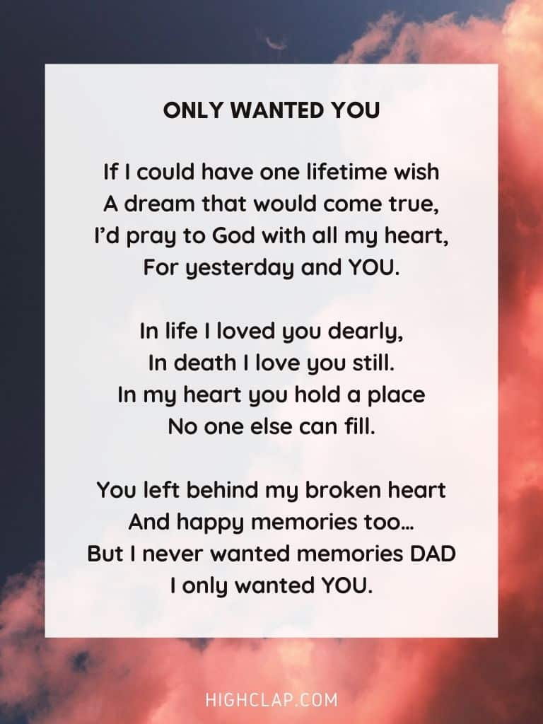 Only wanted YOU - Father's Day Poem