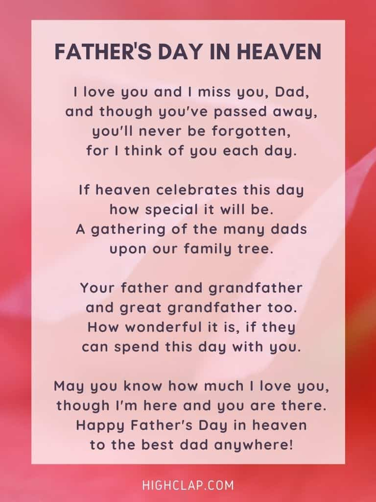 Father's Day In Heaven - Father's Day Poem