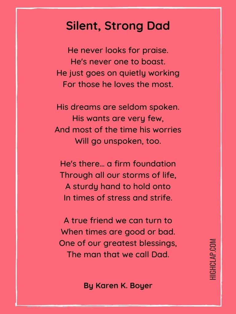 Silent, Strong Dad - Father's Day Poem