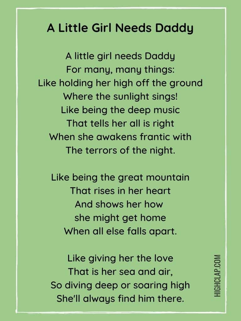 A Little Girl Needs Daddy - Father's Day Poem