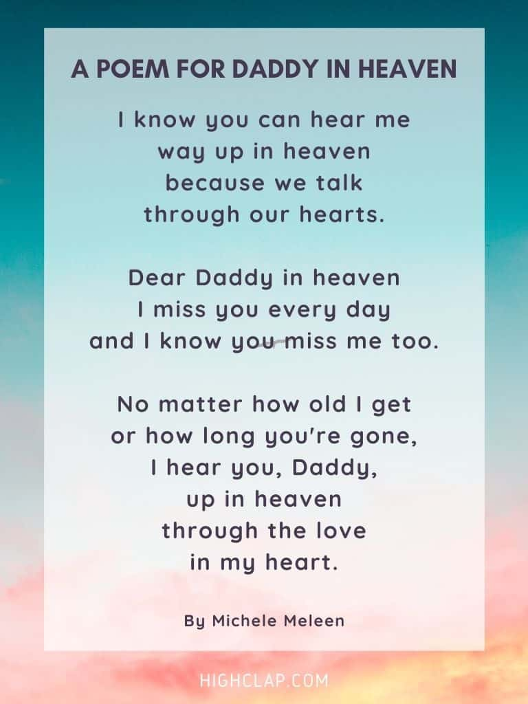 A Poem for Daddy in Heaven - Father's Day Poem