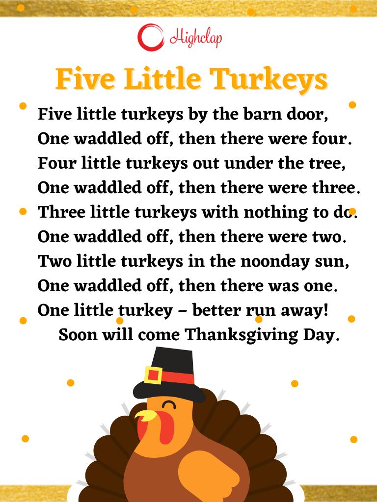 Five Little Turkeys Thanksgiving song