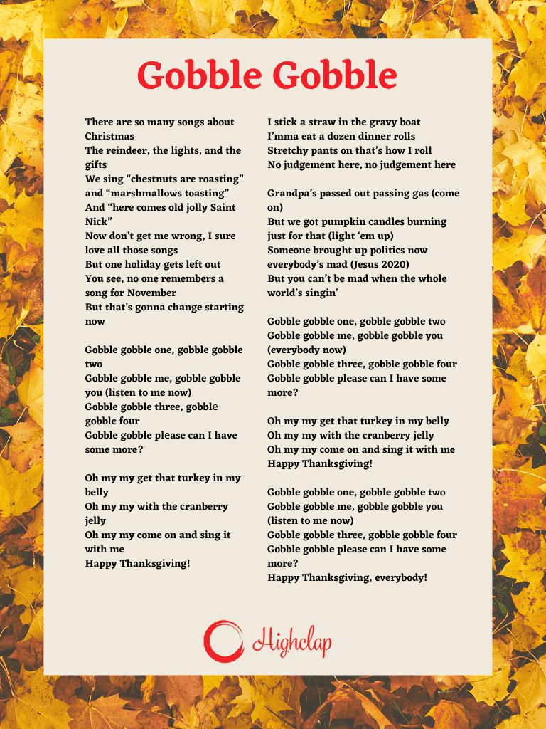 Gobble Gobble Thanksgiving song