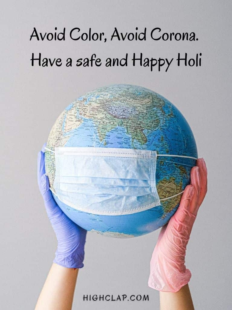 Avoid Color, Avoid Corona. Have a safe and Happy Holi 2021-Holi Status And Whatsapp Messages