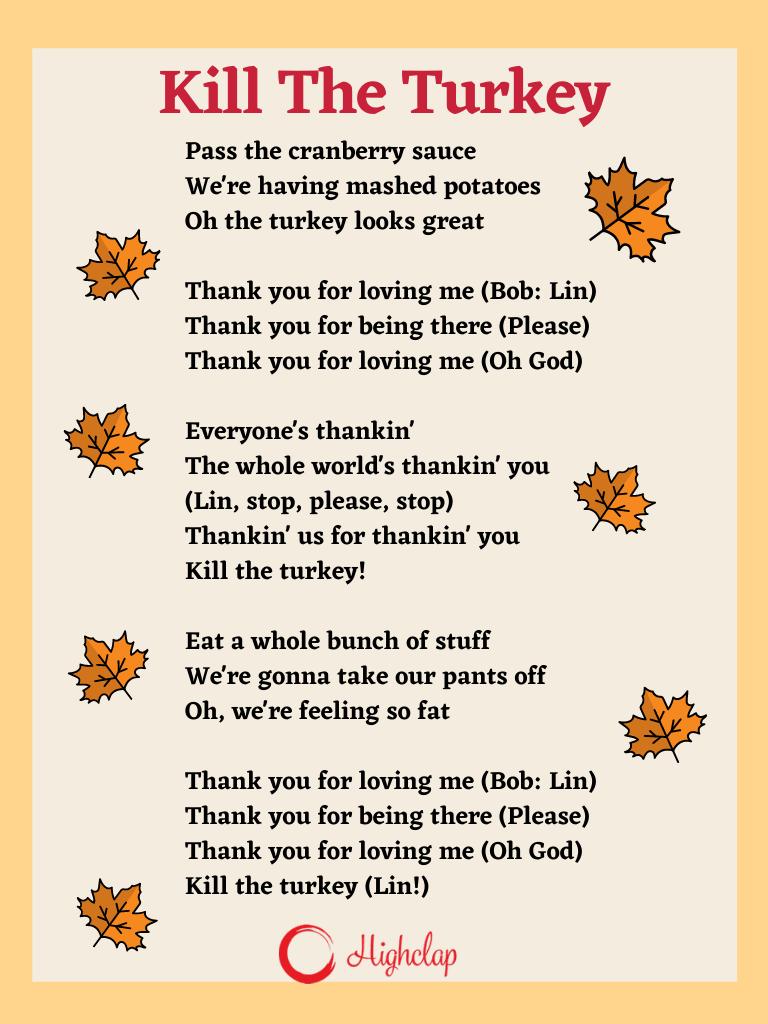 Kill The Turkey Thanksgiving song