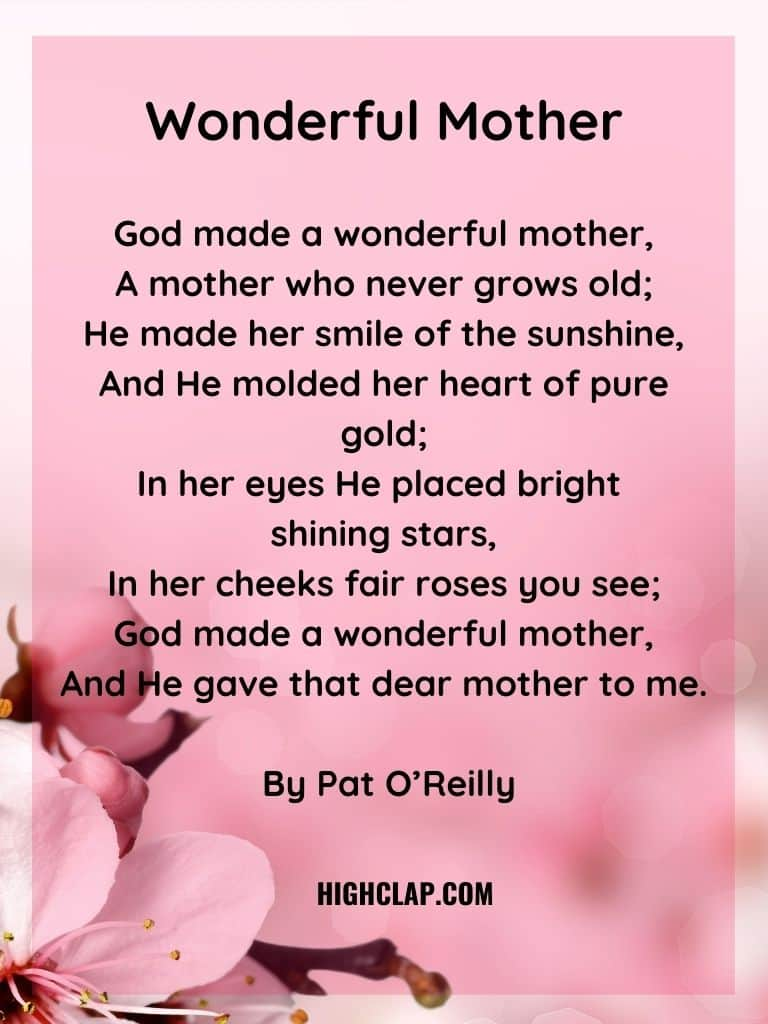 Wonderful Mother Poem - Mothers Day
