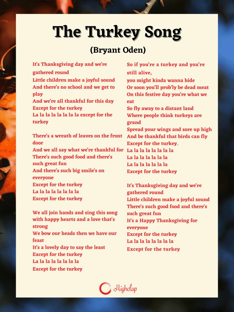 The Turkey Song Lyrics (Bryant Oden)